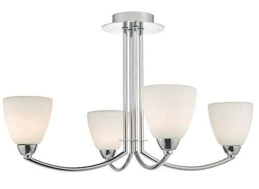Edanna 4 Light Polished Chrome & Opal Glass IP44 Bathroom Ceiling Light