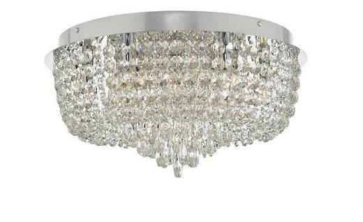Eitan 9 Light Polished Chrome and Beaded Crystal Flush Ceiling Light