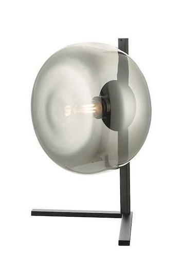Erla Smoked Glass and Black Table Lamp