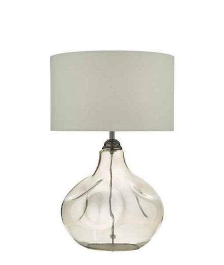 Esarosa Smoked Glass with White Linen Shade Table Lamp