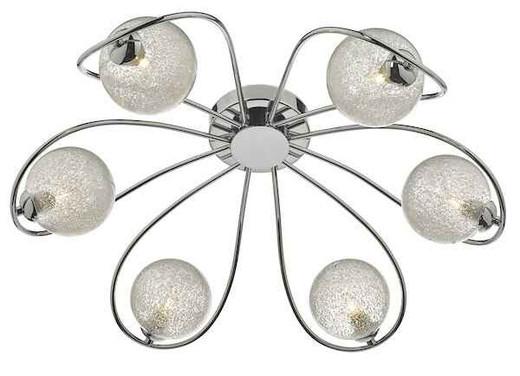 Esma 6 Light Polished Chrome and Chipped Glass Shade Semi Flush Ceiling Light