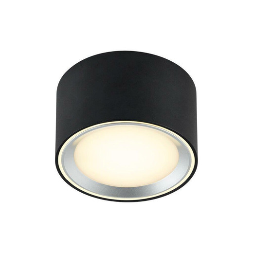 Nordlux Fallon Black with Brushed Steel Trim Surface Ceiling Light