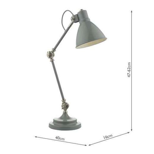 Eunice Grey and Satin Nickel Task Lamp