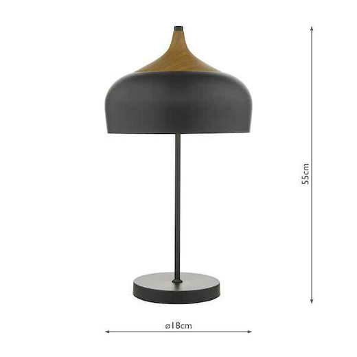 Gaucho 2 Light Black Metal and Wood Table Lamp