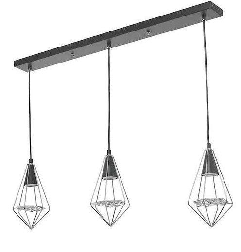 Gianni 3 Light Black Polished Chrome and Glass Pendant Light