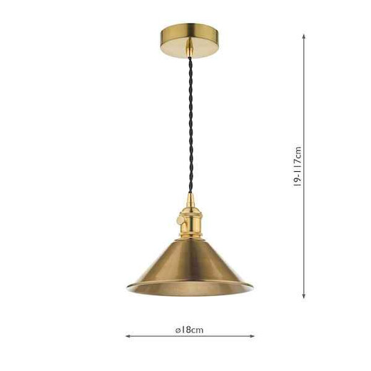 Hadano Natural Brass with Aged Brass Shade Pendant Light