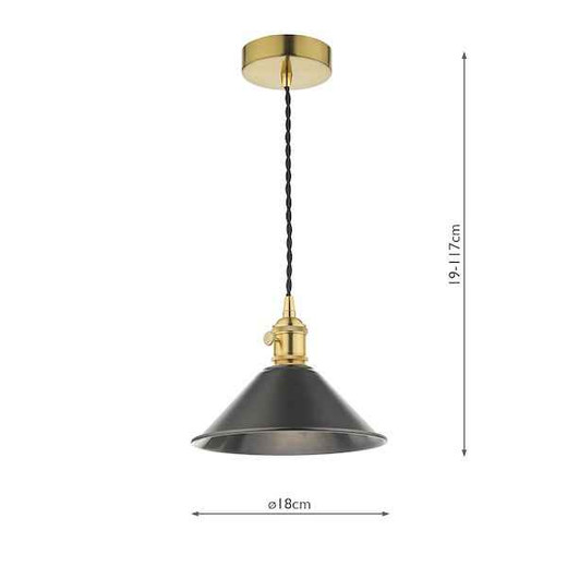 Hadano Natural Brass with Antique Pewter Shade Pendant Light