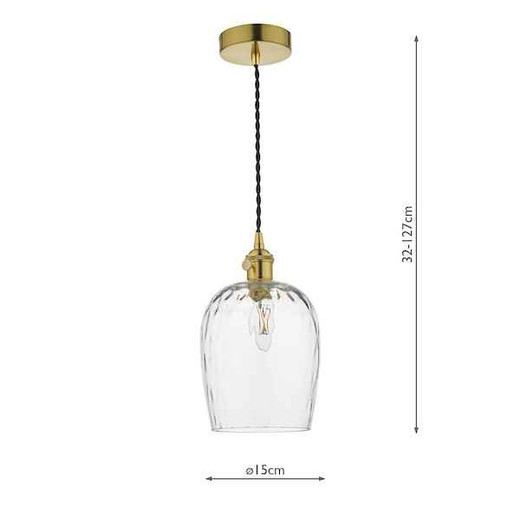 Hadano Natural Brass with Dimpled Glass Shade Pendant Light