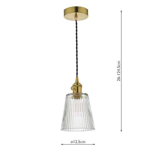 Hadano Natural Brass with Ribbed Glass Shade Pendant Light