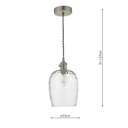 Hadano Antique Chrome with Dimpled Glass Shade Pendant Light
