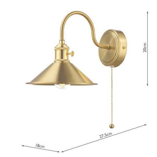 Hadano 1 Light Brass With Brass Shade Wall Light