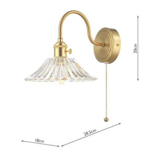 Hadano 1 Light Brass With Clear Flared Glass Shade Wall Light