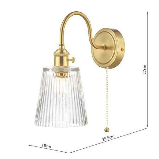 Hadano 1 Light Brass With Clear Ribbed Glass Shade Wall Light