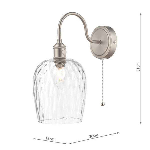 Hadano 1 Light Antique Chrome With Clear Dimpled Glass Shade Wall Light