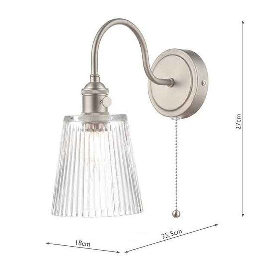 Hadano 1 Light Antique Chrome With Clear ribbed Glass Shade Wall Light