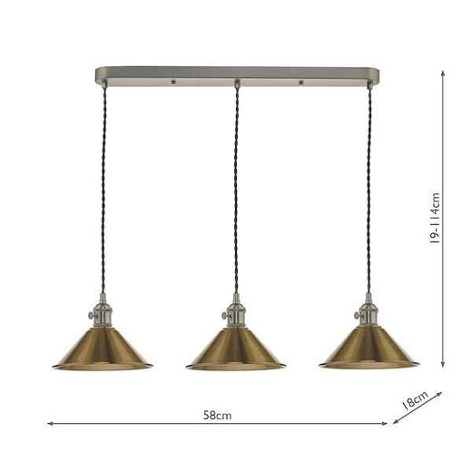 Hadano 3 Light Antique Chrome with Aged Brass Shades Lighting Suspension