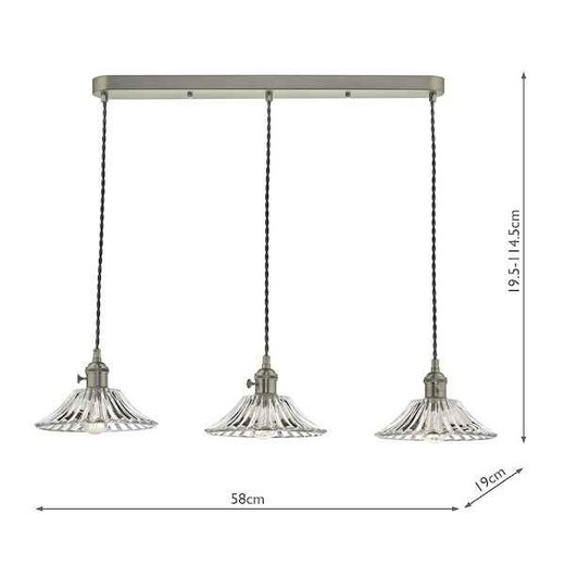 Hadano 3 Light Antique Chrome with Flared Glass Shades Lighting Suspension