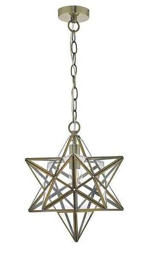 Ilario Antique Brass & Glass Pendant Light