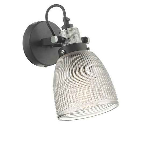 Ismet Black Polished Chrome And Textured Glass Wall Light