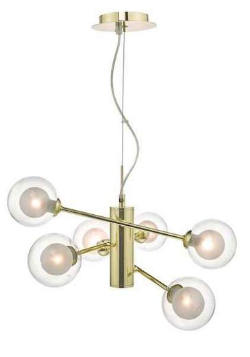 Kumara 6 Light Gold and Glass Pendant Light