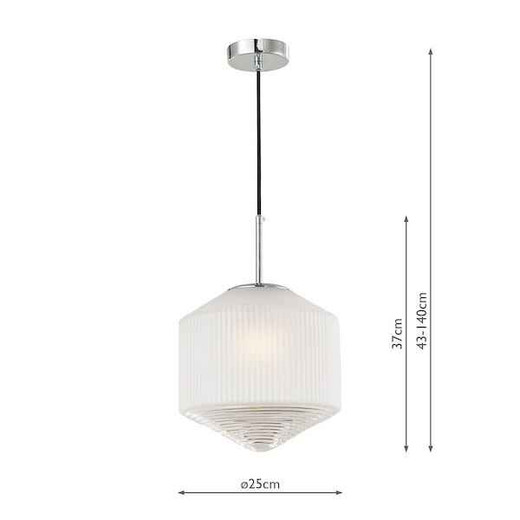 Nisha Polished Chrome And Frosted Clear Glass Pendant Light