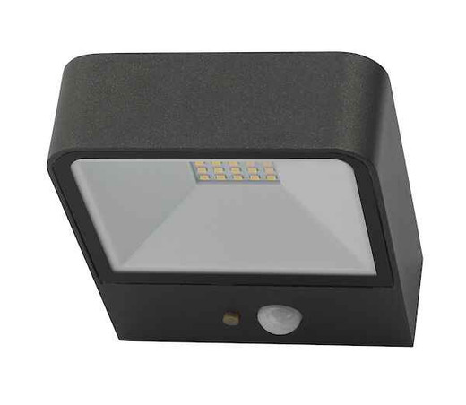 Noxolo Anthracite Square Solar Power PIR Sensor IP65 LED Outdoor Wall Light