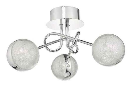 Nyma 3 Light Polished Chrome & Acrylic LED Semi Flush Ceiling Light