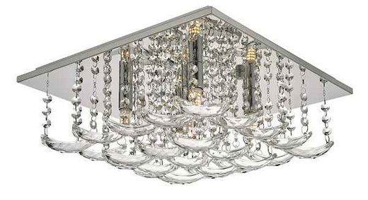 Orella 5 Light Polished Chrome & Crystal Flush Ceiling Light