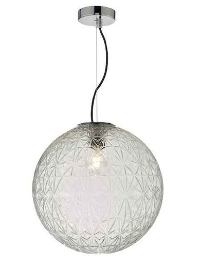 Ossian Polished Chrome And Clear Glass Large Pendant Light