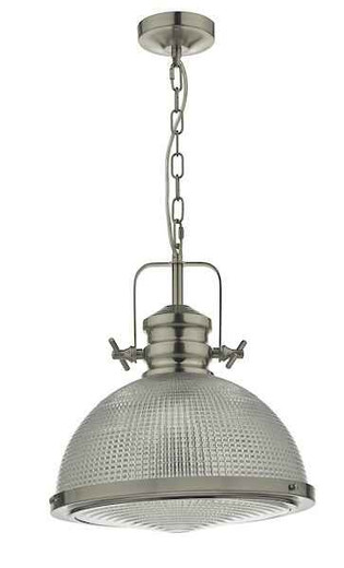 Peyton Satin Nickel And Textured Glass Industrial Pendant light
