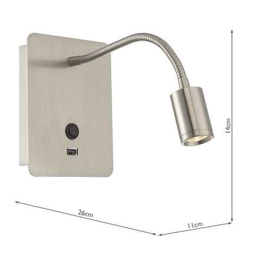 Raoul Adjustable Satin Nickel LED Bedhead Reading Wall Light