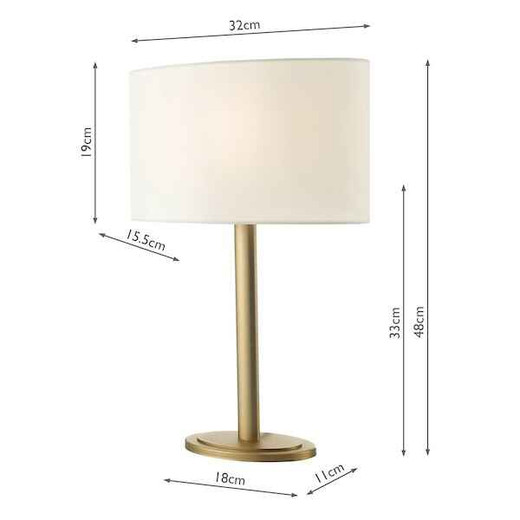 Shubert Bronze With Ivory Cotton Shade Table Lamp