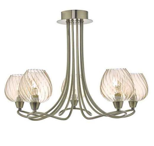 Sivyer 5 Light Antique Brass and Champagne Glass Semi Flush Ceiling Light