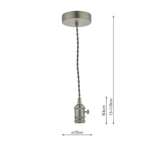 Accessory 1 Light Antique Chrome Pendant Light Suspension