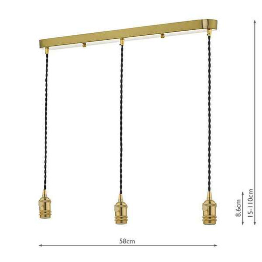 Accessory 3 Light Bar Suspension Brass With Black Cable