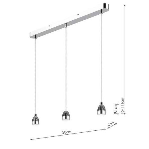 Accessory 3 Light Modular Polished Chrome LED Bar Pendant Light Suspension