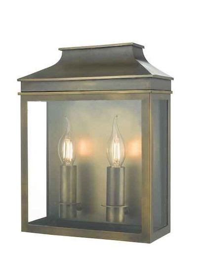 Vapour 2 Light Weathered Brass Coach Lantern IP44 Wall Light