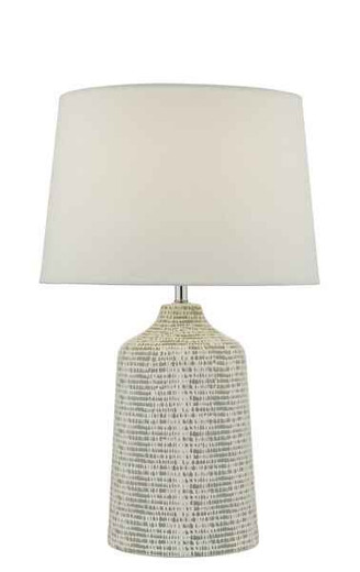 Vondra Grey and White Ceramic with Ivory Linen Shade Table Lamp
