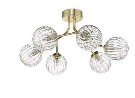 Yiska 6 Light Gold & Glass Semi Flush Pendant Light