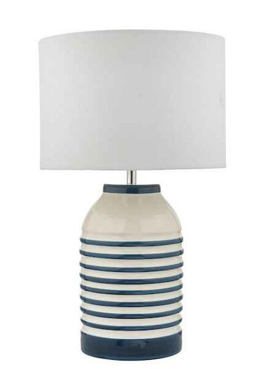 Zabe White and Blue with Shade Table Lamp