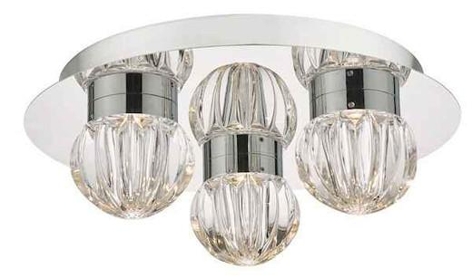 Zondra 3 Light Polished Chrome and Glass IP44 LED Bathroom Flush Ceiling Light