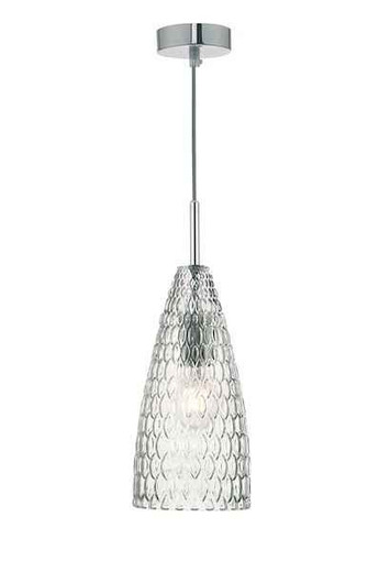 Zuka Polished Chrome & Textured Glass Pendant Light