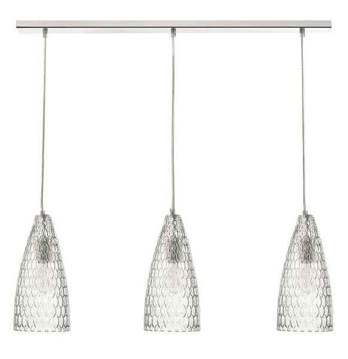 Zuka 3 Light Polished Chrome & Textured Glass Bar Pendant Light