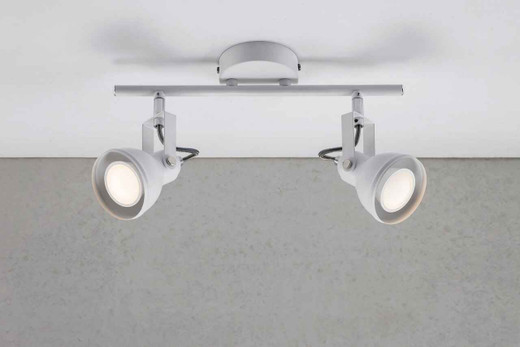 Aslak 2 Light White Adjustable Head Ceiling Bar Spotlight