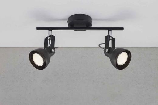 Aslak 2 Light Black Adjustable Head Ceiling Bar Spotlight