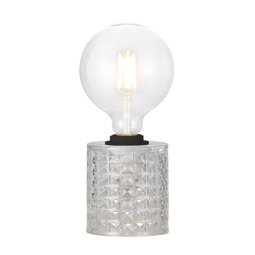 Hollywood Black Cable with Clear Glass Table Lamp