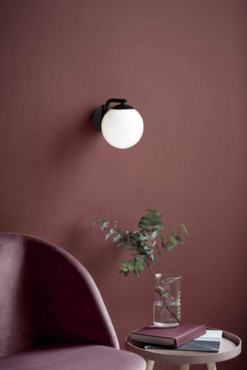 Grant Black with Opal White Glass Wall Light