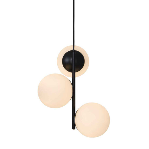 Lilly 3 Light Black with Opal White Glass Pendant Light