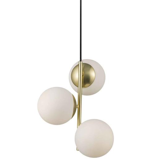 Lilly 3 Light Brass with Opal White Glass Pendant Light