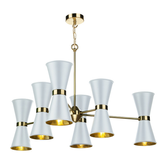 Hyde 12 Light Polished Brass with Metal Shade Pendant Light